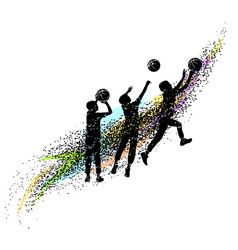 basketball silhouettes dynamic vector image