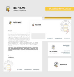 battery business letterhead envelope and visiting vector image