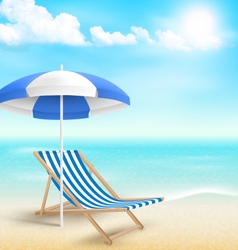 Beach with sun umbrella beach chair and clouds vector image