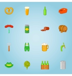 Beer alcohol icons set cartoon style vector