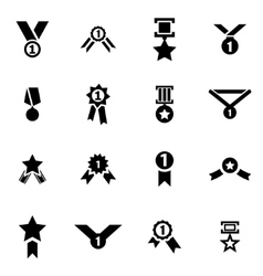 black award medal icon set vector image