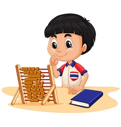Boy calculating with abacus vector