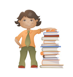 boy with books vector image