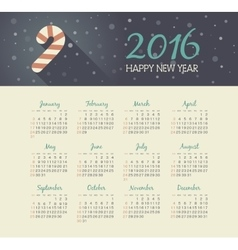 Calendar 2016 year with christmas Candy Cane vector