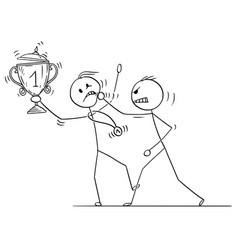 Cartoon of man or businessman attacking winner vector