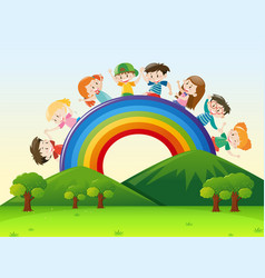 Children over the rainbow vector