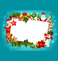 Christmas greeting card empty blank frame vector