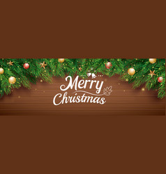 christmas greeting card with fir tree on wooden vector image