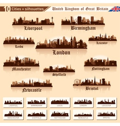 City skyline set 10 cities of Great Britain vector image