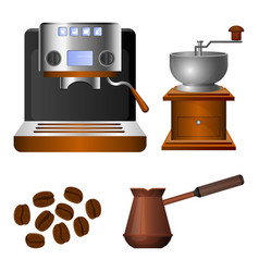 Coffee machine old grinder and metal turk set vector