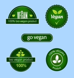 collection green vegan food labels and badges vector image