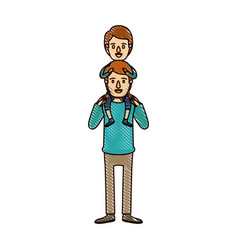 color crayon stripe cartoon young father with boy vector image