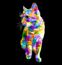 colorful cat sit looking to side with black vector image