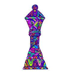 Colorful queen chess piece with many decorative vector