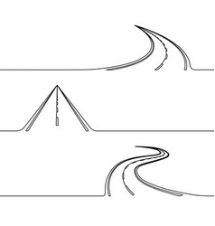 Continuous line drawing road vector