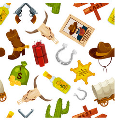 cowboy boots guns and other wild west objects in vector image