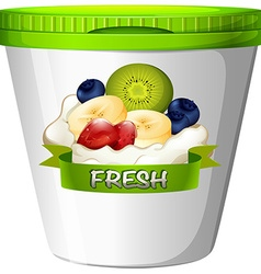 Cup of yoghurt with fresh fruits vector