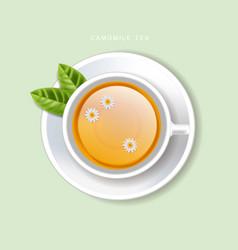 Cup tea realistic top view 3d vector