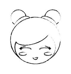 cute face kokeshi sketch vector image
