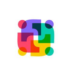 Diversity people family team work logo icon vector
