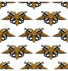 Double headed Imperial eagle and crossed anchors vector image