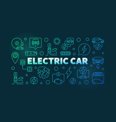 electric car colorful outline banner vector image