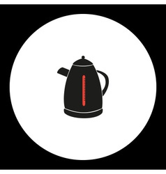 electric kettle simple isolated black and red icon vector image