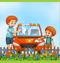 father and son washing car vector image