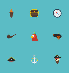 flat icons macaw direction pirate hat and other vector image