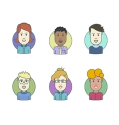 Flat line icons set of people stylish avatars vector image