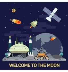 flat moon colony vector image