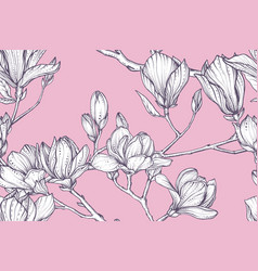 floral seamless pattern magnolia vector image