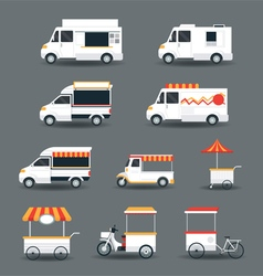 Food Vehicles Truck Van Pushcart White Body vector image
