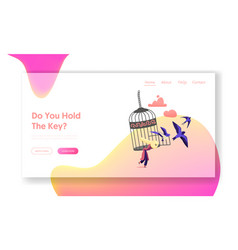 freedom landing page template female character vector image