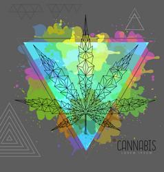 Geometric cannabis leaf silhouette vector