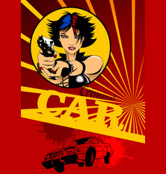 Girl with black gun and car vector