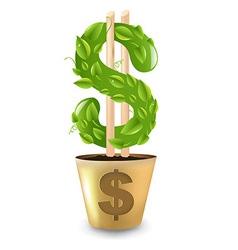 Gold pot with dollar vector