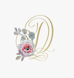 Golden hand lettering font with handmade rose vector