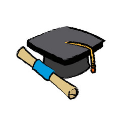 Graduation cap and diploma rolled finish education vector