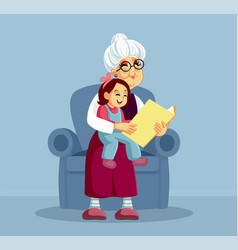 grandmother reading a story book to her vector image