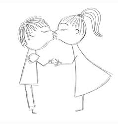 Hand drawing girl and boy kiss vector image vector image