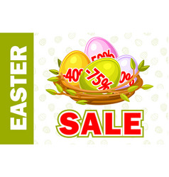happy easter egg in birds nest twigs vector image
