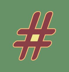 Hashtag sign cordovan icon vector