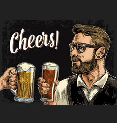 Hipster holding glass beer and clinking vector
