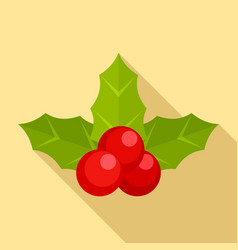 holly berry icon flat style vector image