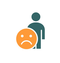 Human with unhappy emotions colored icon upset vector