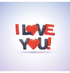I love you text with hearts vector