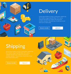 isometric logistics and delivery icons web vector image