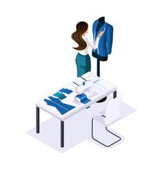 Isometric tailor designer creates tailoring clot vector