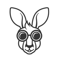 Kangaroo head in sunglasses icon logo on white vector